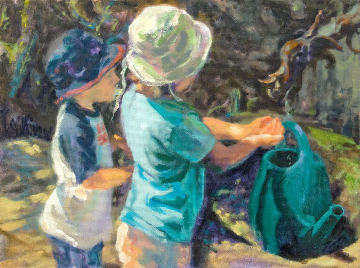 children at the well try 2 - orig 9x12